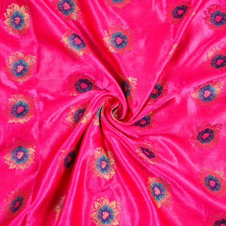 Magenta Pink Blue Floral Satin Brocade Meena Fabric-12926