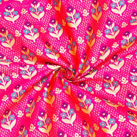 Magenta-Pink Blue and Golden Floral Banarasi Silk Fabric-12584