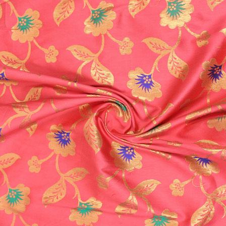 Magenta Pink Blue and Golden Floral Brocade Silk Fabric-9081
