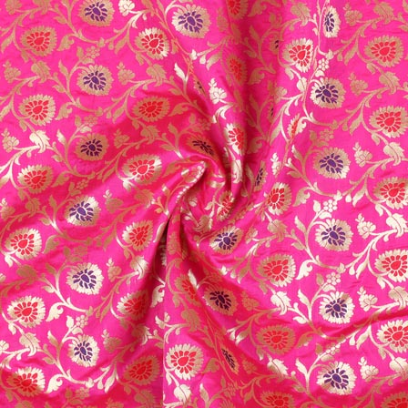 Magenta Pink Blue and Red Floral Banarasi Silk Fabric-9263