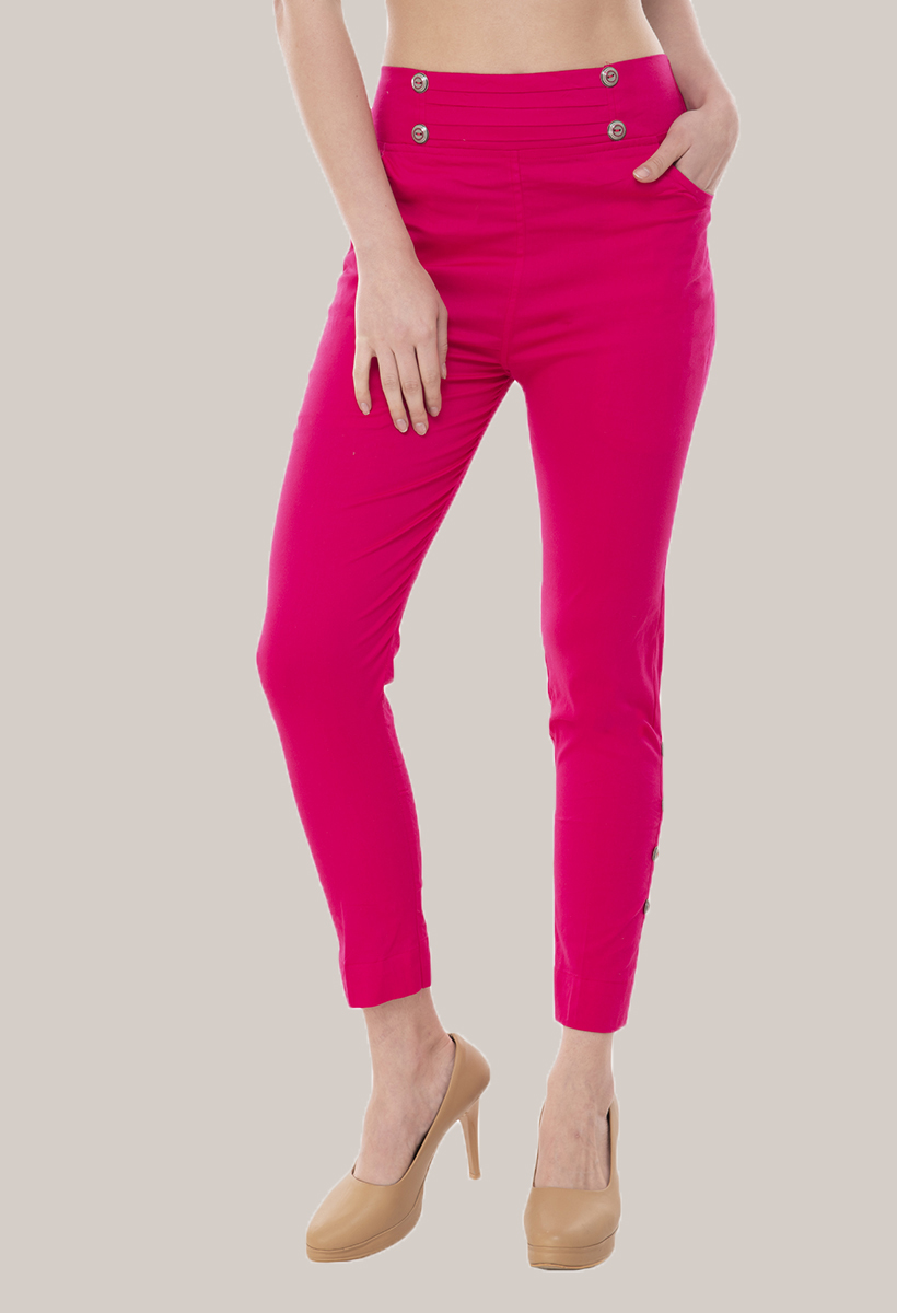 Magenta Pink Cotton Lycra Roll Up Pant-33500