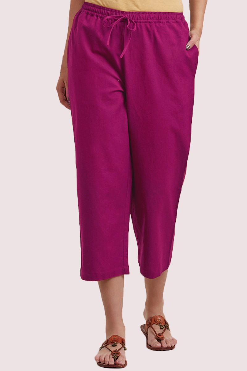 Magenta Pink Cotton Solid Women Culottes-33857