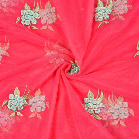 Magenta Pink Cyan and Green Floral Net Embroidery Fabric-19267