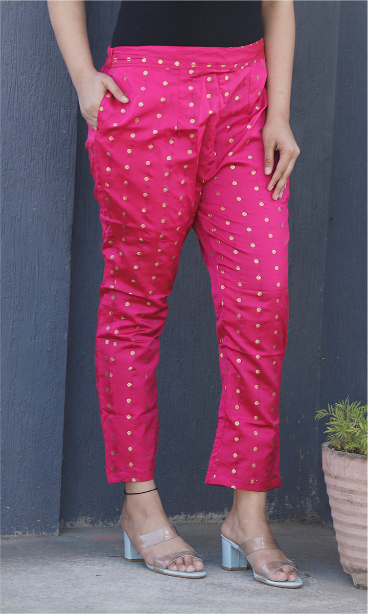 Magenta Pink Golden Brocade Silk Ankle Women Pant-34459