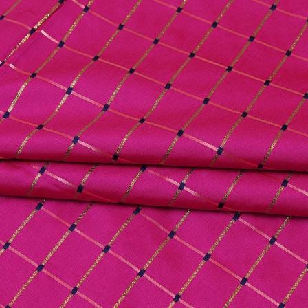 Magenta Pink Golden Checks Zari Brocade Silk Fabric-9287