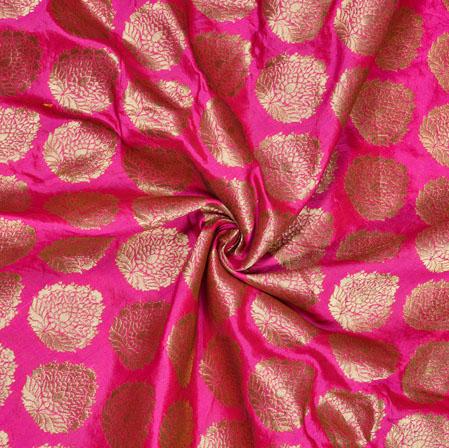 Magenta Pink Golden Flower Pot Brocade Silk Fabric-12811