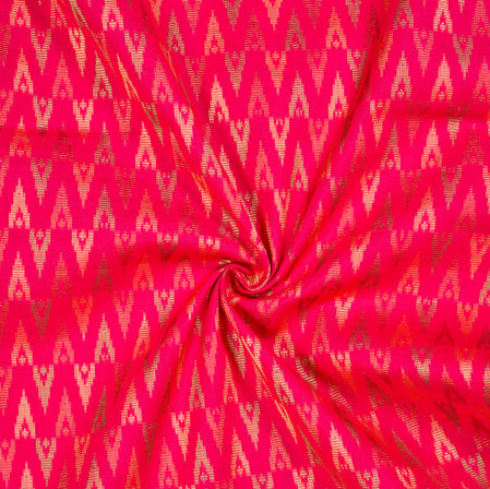 Magenta-Pink Golden Ikat Cotton Jacquard Fabric-28137