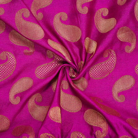 Magenta-Pink Golden Paisley Chanderi Zari Silk Fabric-12097