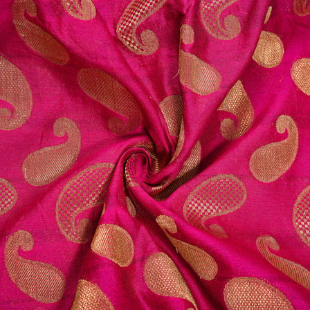 Magenta-Pink Golden Paisley Chanderi Zari Silk Fabric-12102