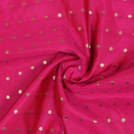 Magenta Pink Golden Polka Brocade Silk Fabric-9354