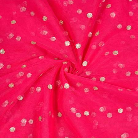 Magenta Pink Golden Sequin Net Fabric-19009
