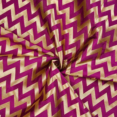 Magenta-Pink Golden Zig-Zag Banarasi Silk Fabric-12668