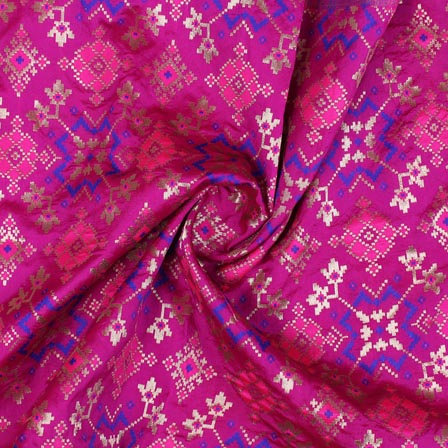 Magenta Pink Golden and Blue Floral Banarasi Silk Fabric-9304
