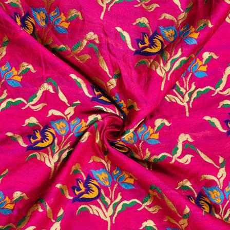 Magenta-Pink Green and Yellow Floral Banarasi Silk Fabric-12004