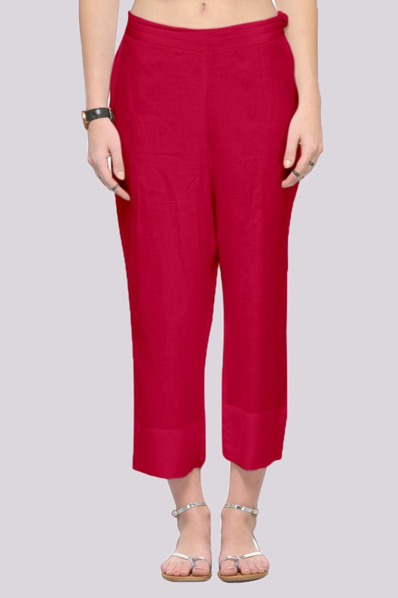 Magenta Pink Rayon Ankle Length Pant-33675