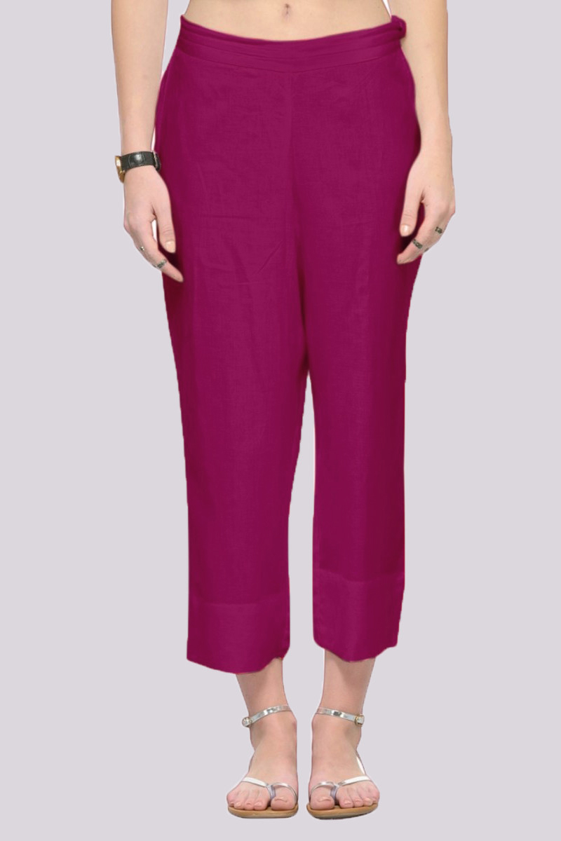 Magenta Pink Rayon Ankle Length Pant-33690