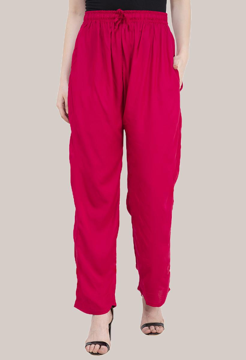 Magenta Pink Rayon Pant-33481