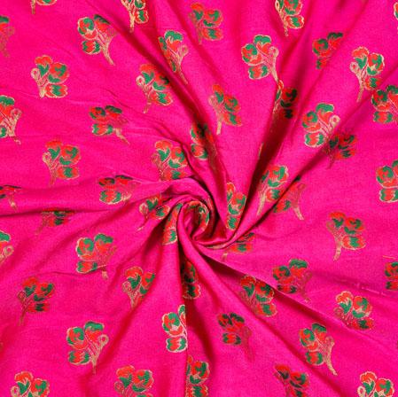 Magenta Pink Red and Green Floral Satin Brocade Meena Fabric-12929