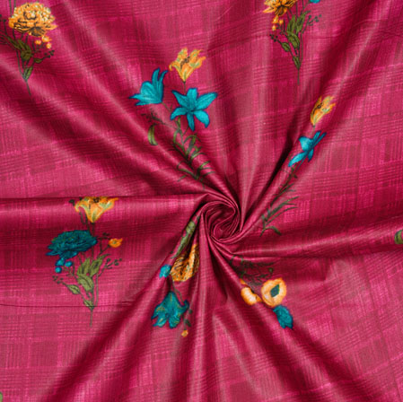 Magenta Pink Yellow and Cyan Floral Cotton Print Fabric-28181