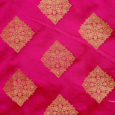 Magenta and Golden Triangle Flower Brocade Silk Fabric by the yard