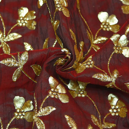 Maroon Banarasi Dupion Base Fabric With Golden Leaf Embroidery-60022