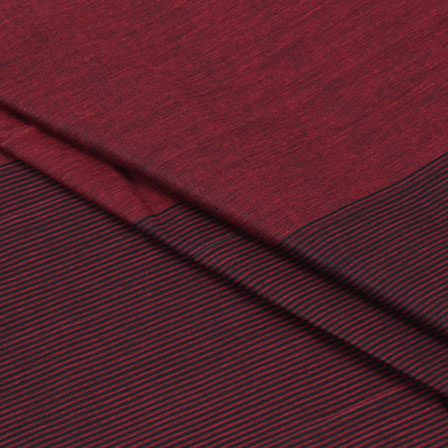 Cotton Shirt (2.25 Meter)-Maroon Black Striped Handloom Khadi-140709