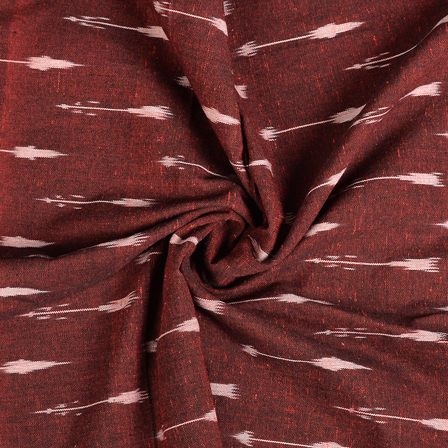 Maroon Cotton Ikat Fabric-12152