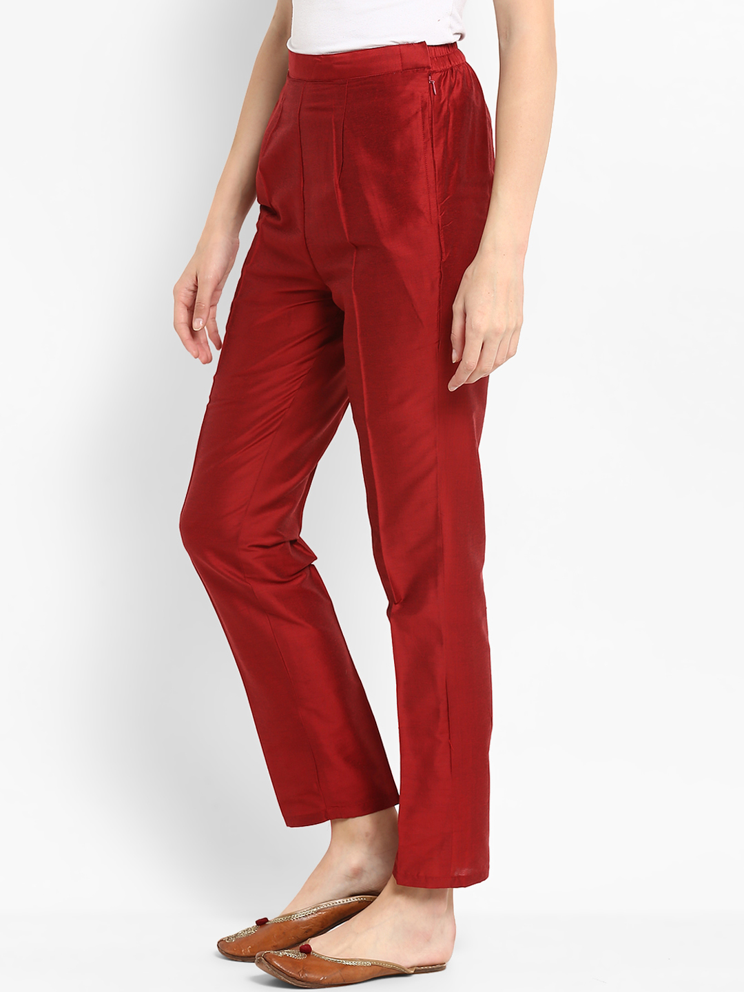 Maroon Cotton Silk Ankle Pant-34272