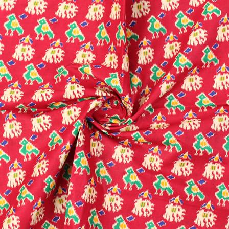 Maroon-Cream and Green Elephant Design Kalamkari Cotton Fabric-10009