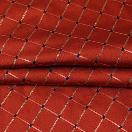 Maroon Golden Checks Zari Brocade Silk Fabric-9292