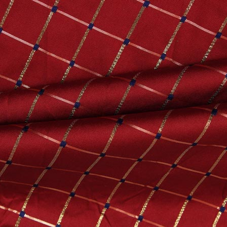 Maroon Golden Checks Zari Brocade Silk Fabric-9298