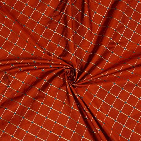 Maroon Golden Checks Zari Taffeta Silk Fabric-12658