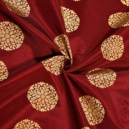 Maroon Golden Circle Brocade Silk Fabric-12047