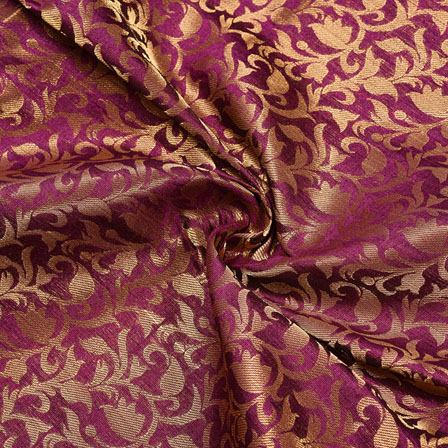 Maroon Golden Floral Chanderi Zari Silk Fabric-12146