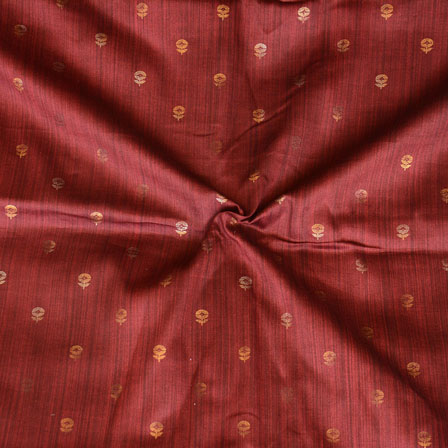 Maroon Golden Floral Print Jam Cotton Fabric-15220