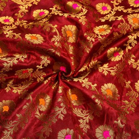 Maroon Golden Floral Satin Brocade Silk Fabric-12013