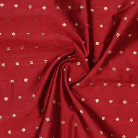Maroon Golden Polka Brocade Silk Fabric-9353
