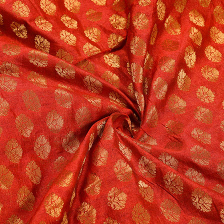 Maroon Golden Polka Chanderi Zari Silk Fabric-12285