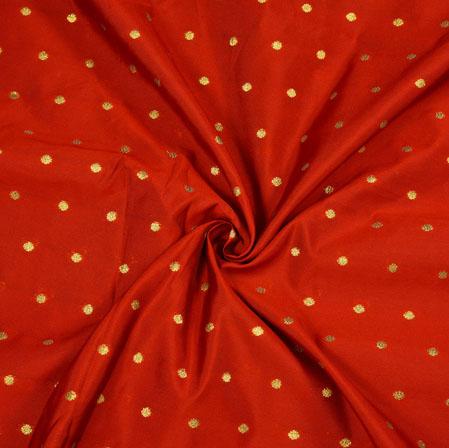Maroon Golden Polka Zari Taffeta Silk Fabric-12641