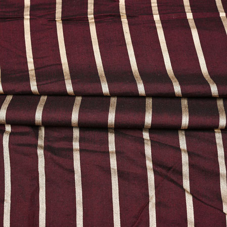 Maroon Golden Stripe Handloom Cotton Fabric-42543