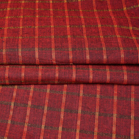 Maroon Green Checks Handloom Cotton Fabric-42512