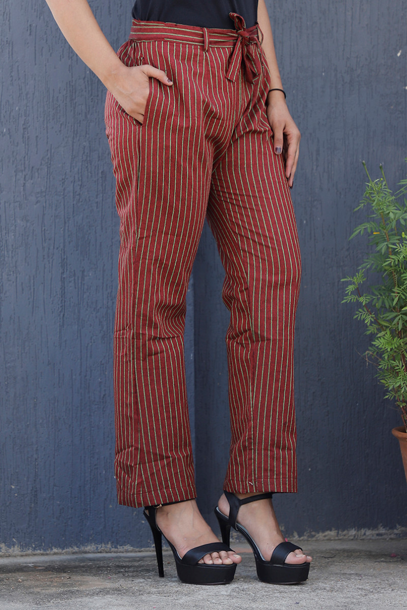 Maroon Green Cotton Stripe Pant with Belt-34073