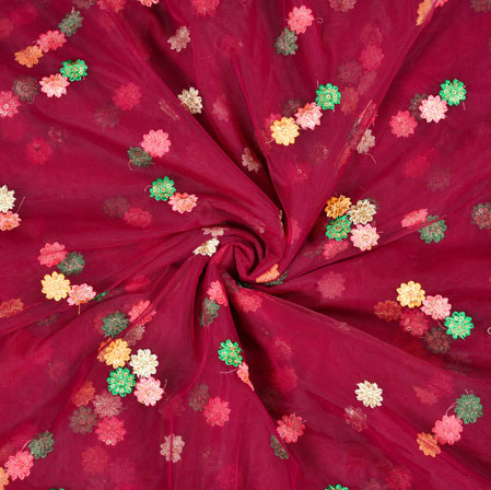 Maroon Green Floral Net Embroidery Fabric-19239