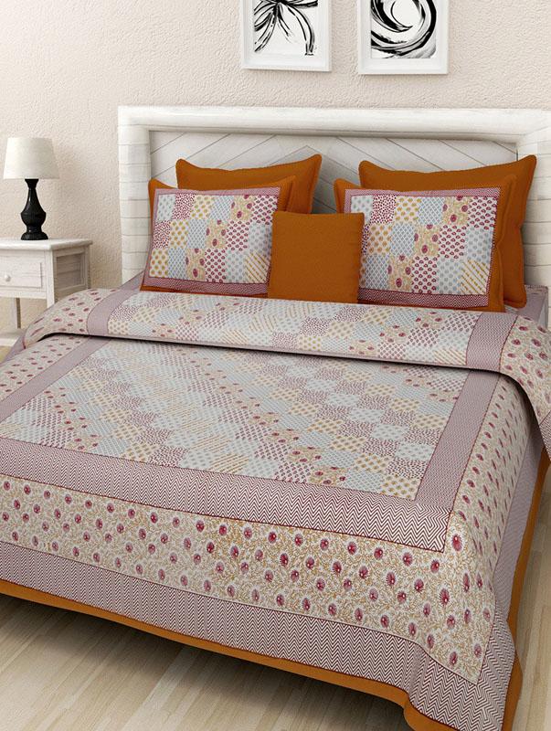 Maroon Mustard Cotton Jaipuri Bedsheet-680