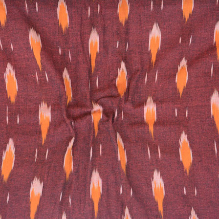 Maroon Orange Ikat Cotton Fabric-12263