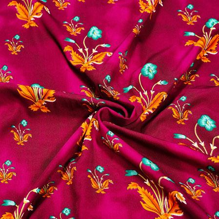 Maroon Orange Floral Crepe Silk Fabric-41057