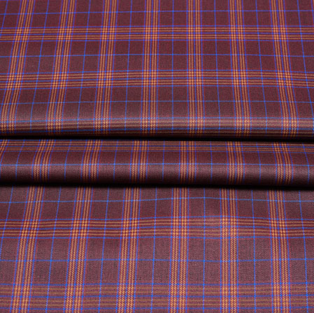 Maroon Orange Checks Wool Fabric-90246