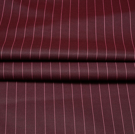 Maroon Pink Stripe Wool Fabric-90186