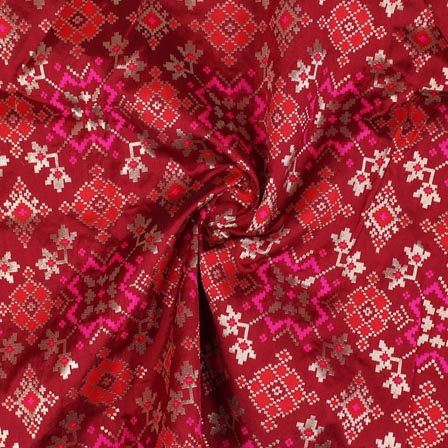Maroon Pink and Golden Floral Banarasi Silk Fabric-9303