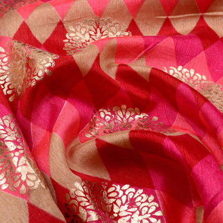 Maroon-Pink and Golden Floral Pattern Brocade Silk Fabric-5388